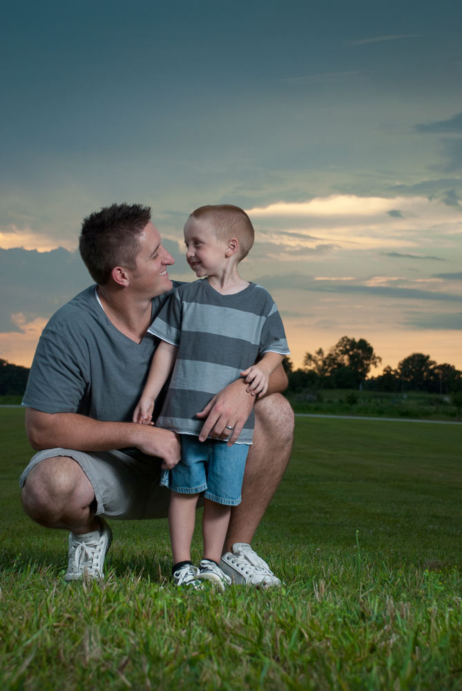 Father and Son Portrait at Sunset