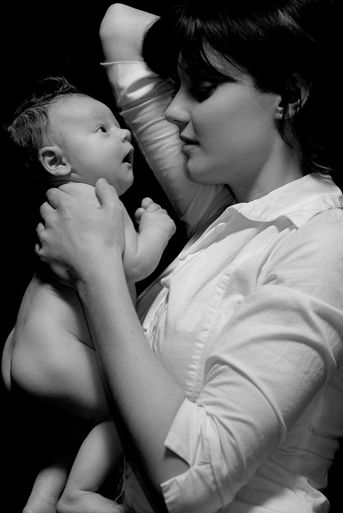 Mother and Newborn Son in Black and White