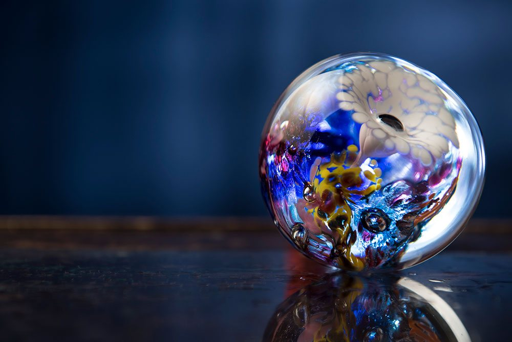 Glass Globe Lit in Studio